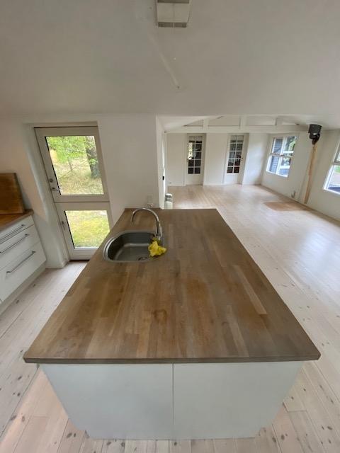 Køkkenbordplade før slibning